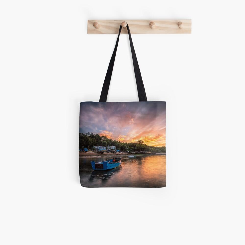 Woodside Bay Boat Sunset Tote Bag