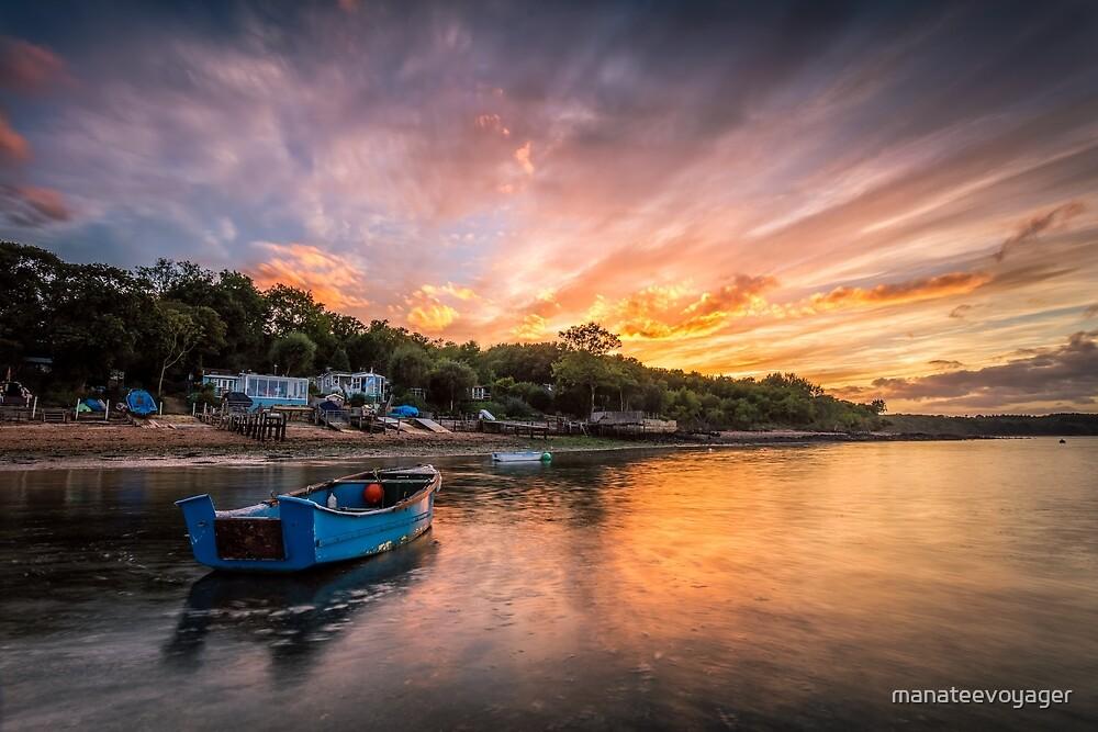 Woodside Bay Boat Sunset by manateevoyager