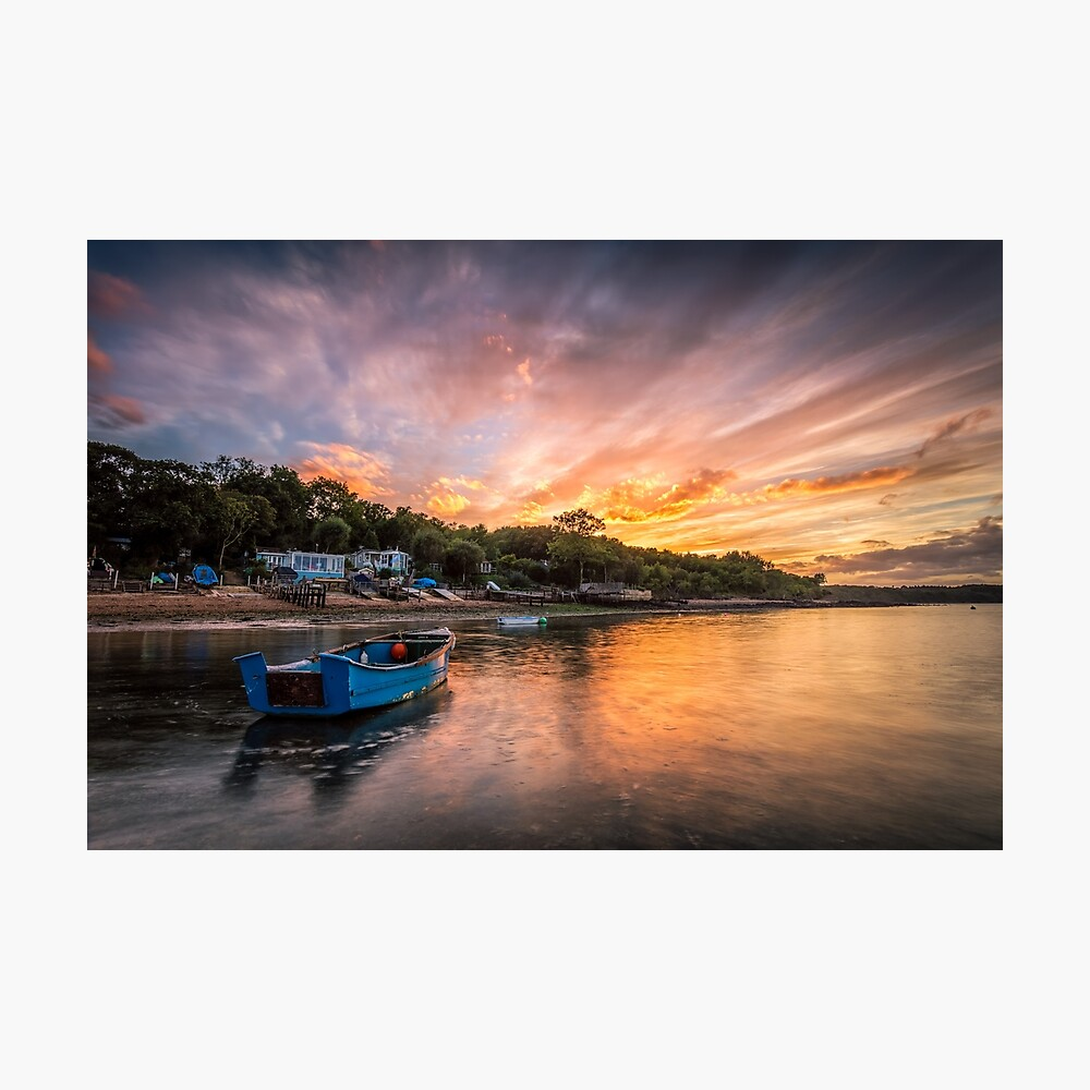 Woodside Bay Boat Sunset Photographic Print
