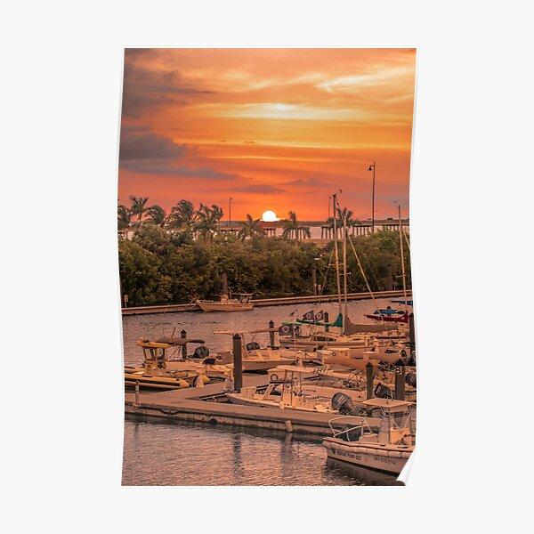Sunset at Laishley Marina Poster