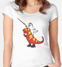 Unicorn Cat Riding Lightning T-Rex Women's Fitted Scoop T-Shirt