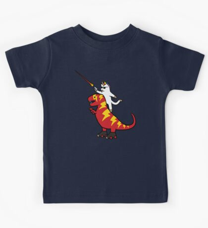 Unicorn Cat Riding Lightning T-Rex Kids Clothes