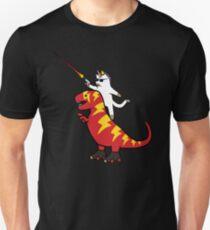 Unicorn Cat Riding Lightning T-Rex Unisex T-Shirt