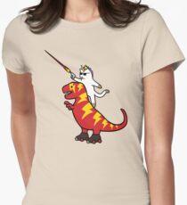 Unicorn Cat Riding Lightning T-Rex Women's Fitted T-Shirt