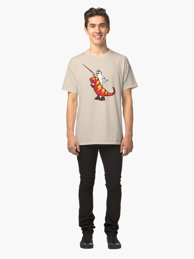 Alternate view of Unicorn Cat Riding Lightning T-Rex Classic T-Shirt