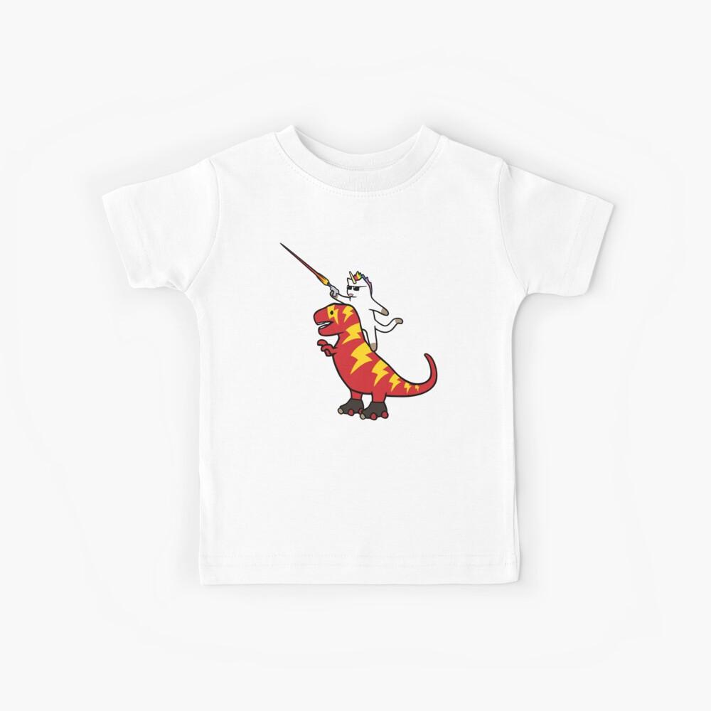 Unicorn Cat Riding Lightning T-Rex Kids T-Shirt