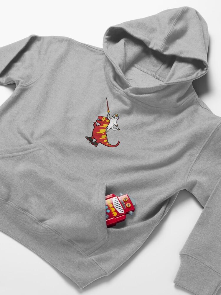 Alternate view of Unicorn Cat Riding Lightning T-Rex Kids Pullover Hoodie