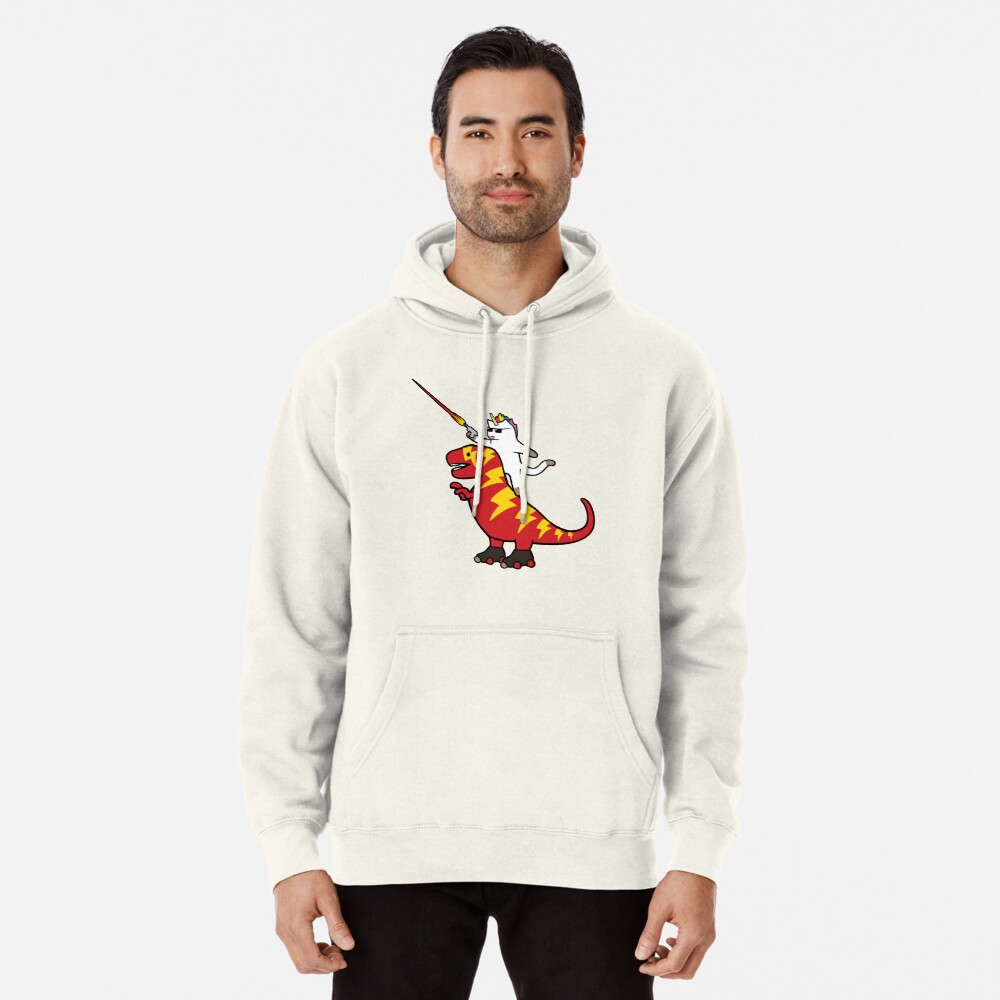 Unicorn Cat Riding Lightning T-Rex Pullover Hoodie