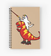 Unicorn Cat Riding Lightning T-Rex Spiral Notebook