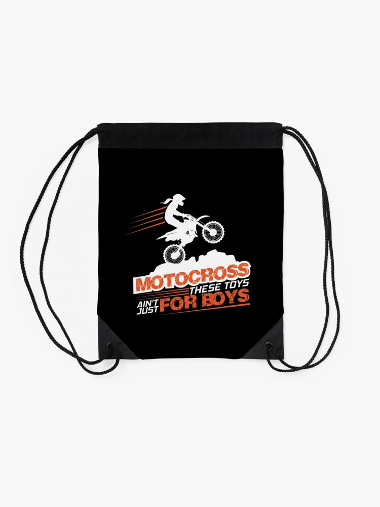 Alternate view of Motocross These Toys Ain't Just For Boys Drawstring Bag