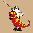 Unicorn Cat Riding Lightning T-Rex by jezkemp