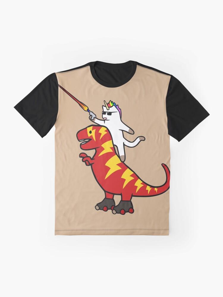 Alternate view of Unicorn Cat Riding Lightning T-Rex Graphic T-Shirt