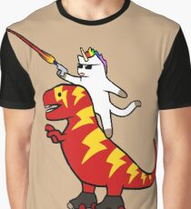 Unicorn Cat Riding Lightning T-Rex Graphic T-Shirt