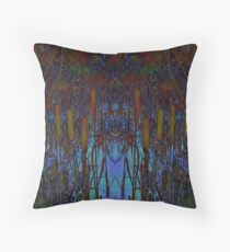 Bull Rushes Throw Pillow