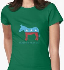 Proud to be... {a democrat} - funny play on DNC donkey Womens Fitted T-Shirt