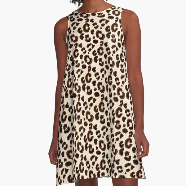 Cream Leopard Print  A-Line Dress