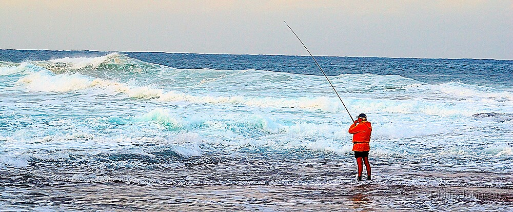 Red On Blue - Rock Fishing Australia by Philip Johnson