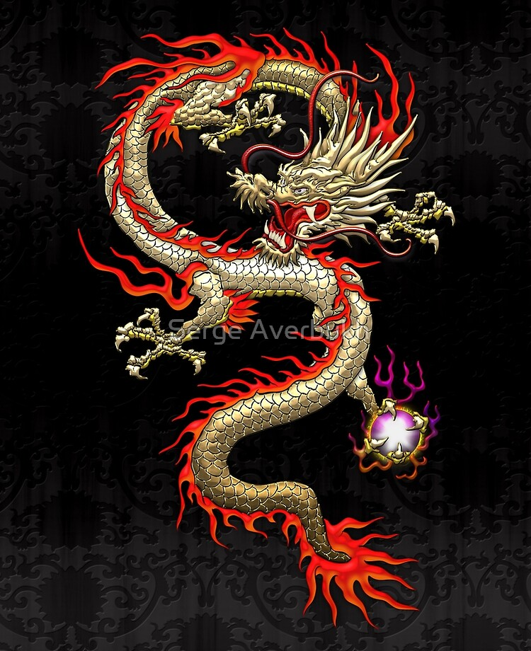 Golden Chinese Dragon Fucanglong On Black Silk Ipad Case Skin By Captain7 Redbubble