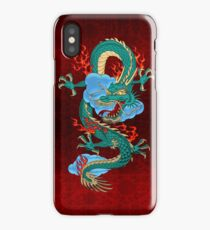 The Great Dragon Spirits - Turquoise Dragon on Red Silk iPhone Case/Skin