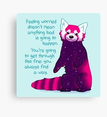 """""""Feeling Worried Doesn't Mean Anything Bad Is Going to Happen"""" Galaxy Red Panda Canvas Print"""