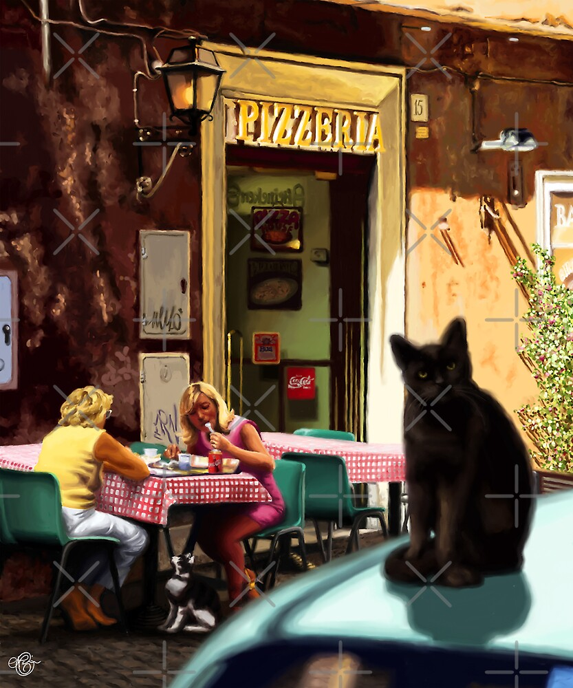 Cats of Rome - Cats outside Pizzeria by Martine Carlsen