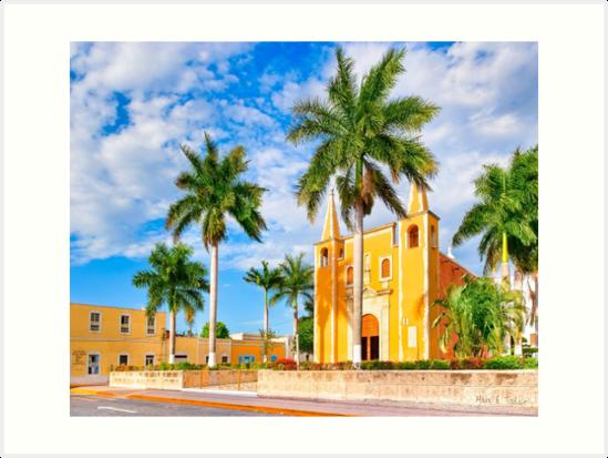 Little Yellow Church in The Barrio Santa Ana - Mérida Mexico by Mark Tisdale