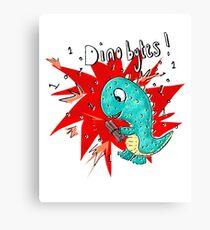 Computer Geek humour  - Dino bytes Canvas Print