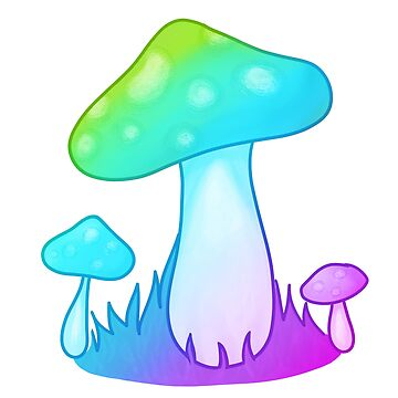 magic mushroom in cool colors by brickelle