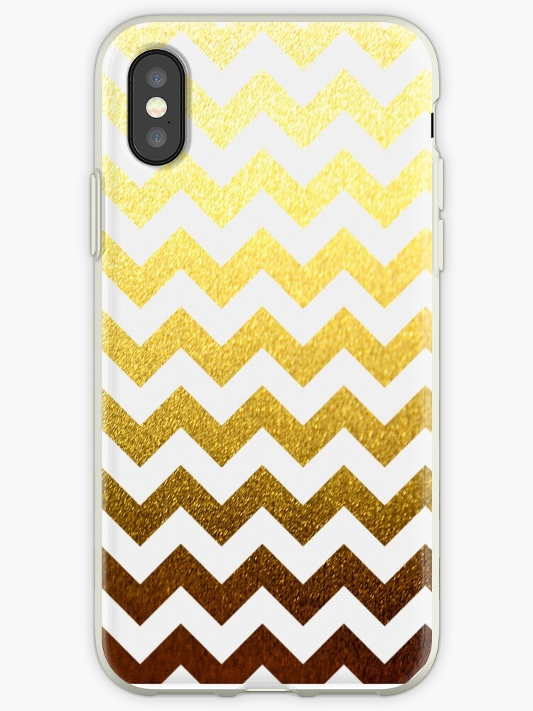 Gold Leaf and White Chevron by ARTiculatePRINT