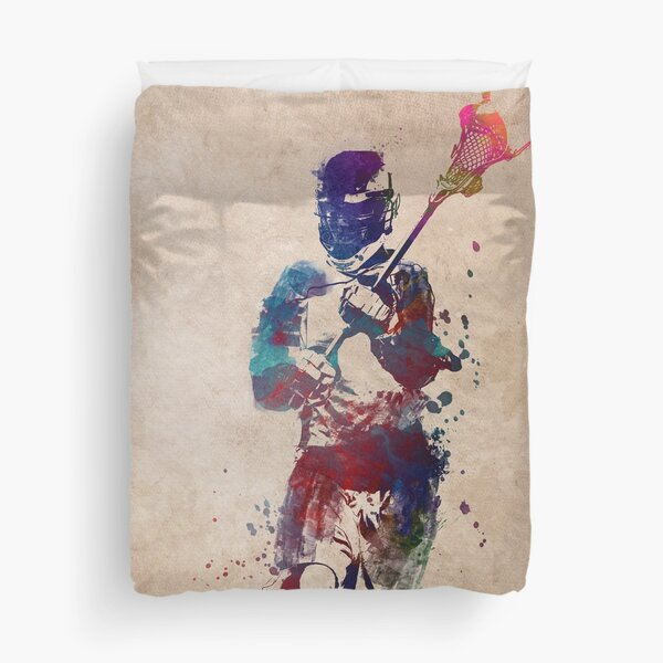 Lacrosse player art 2 #sport #lacrosse Duvet Cover