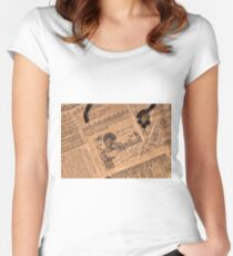 Collaged Patchwork Of Vintage Music Magazine Pages  Women's Fitted Scoop T-Shirt