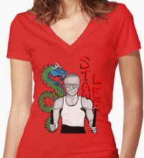 """stan """"the dragon"""" lee Women's Fitted V-Neck T-Shirt"""