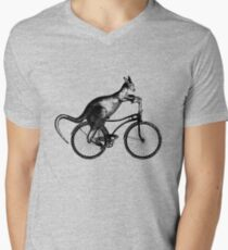 Kangaroo Riding Bicycle Men's V-Neck T-Shirt