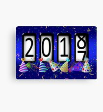 New Years Odometer Party Hats Canvas Print