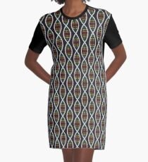 Rainbow DNA Strands Graphic T-Shirt Dress