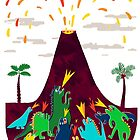 Colorful Dinosaurs and their volcano by malahania