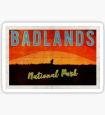 Badlands National Park - Prairie Dog Sunrise - Vintage Design Sticker