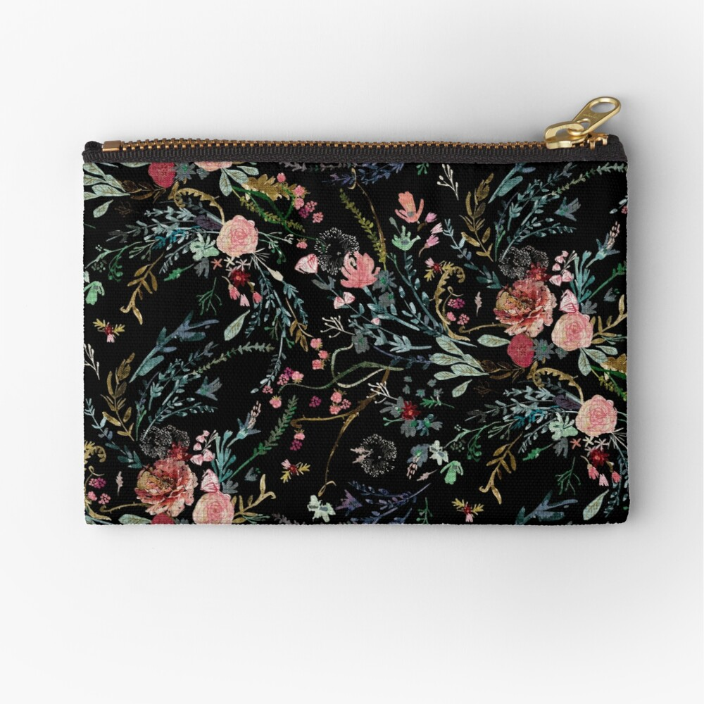Midnight Floral Zipper Pouch