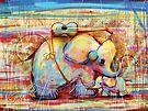 musical rainbow elephants by Karin Taylor