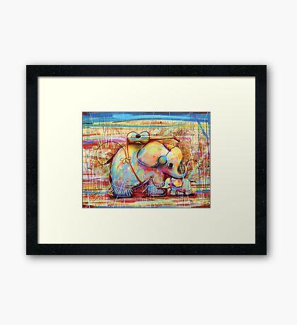 musical rainbow elephants Framed Print