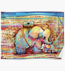musical rainbow elephants Poster