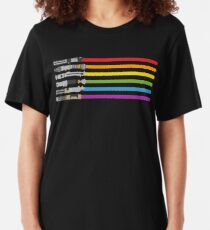 Lightsaber Rainbow T-shirt ajusté