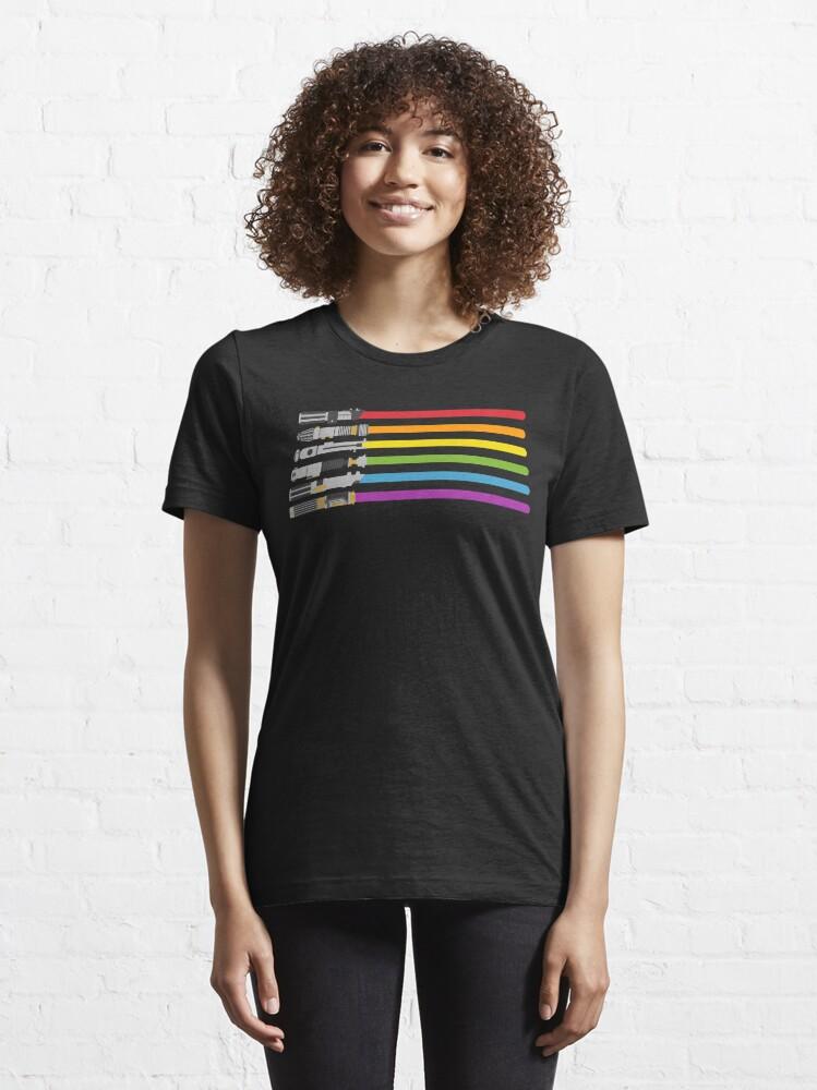 Alternate view of Lightsaber Rainbow Essential T-Shirt