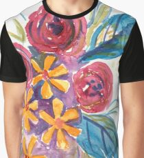 Bright Abstract Flower Bouquet with Roses Graphic T-Shirt