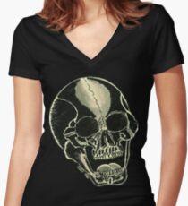 BLK SKULL - Art By Kev G Women's Fitted V-Neck T-Shirt