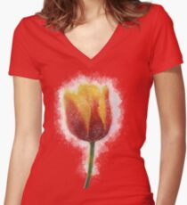 Red and Yellow Tulip Painting  Women's Fitted V-Neck T-Shirt