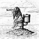 Hope. Funny black and white pen ink drawing by Vitaliy Gonikman