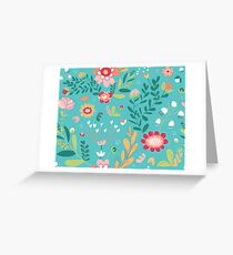 Turquoise Floral Greeting Card