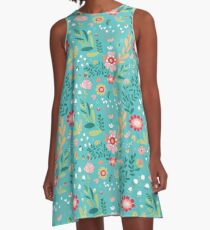 Turquoise Floral A-Line Dress