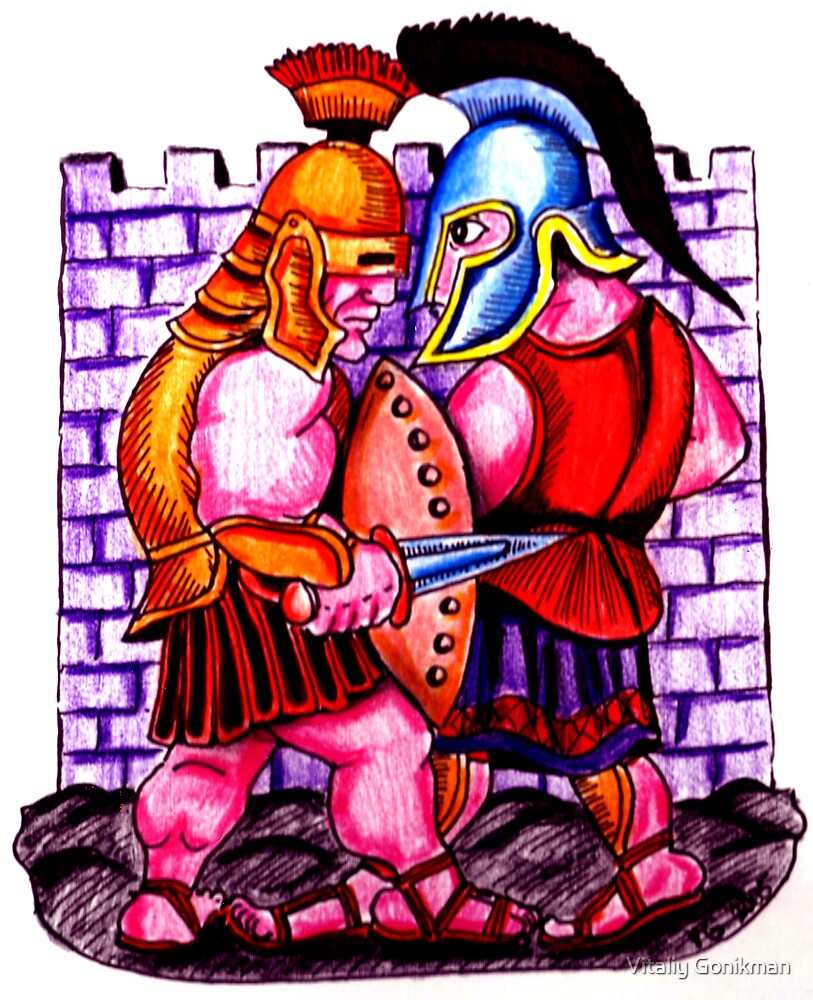 Gladiators. Color pencils drawing by Vitaliy Gonikman